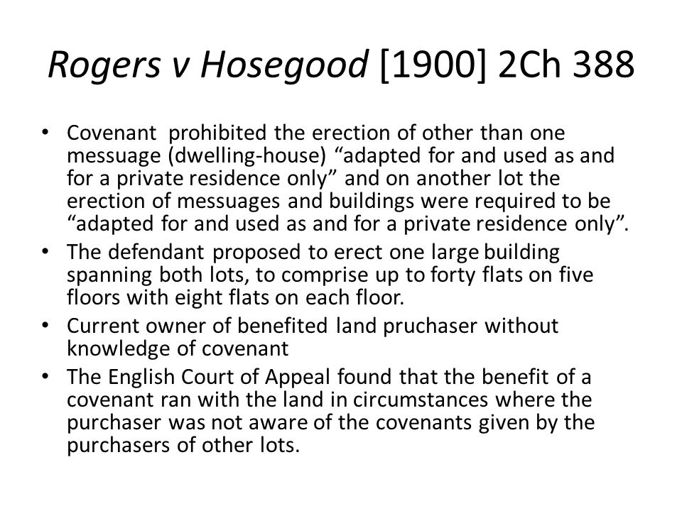 Rogers v Hosegood [1900] 2Ch 388